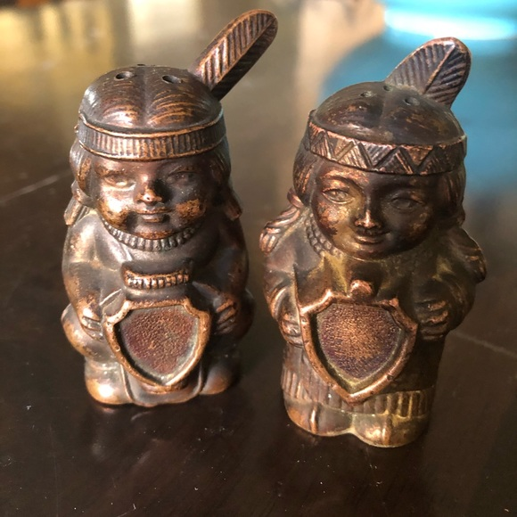 Set Copper Indian Figures salt/pepper